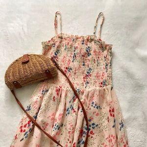 Smocked chiffon midi dress